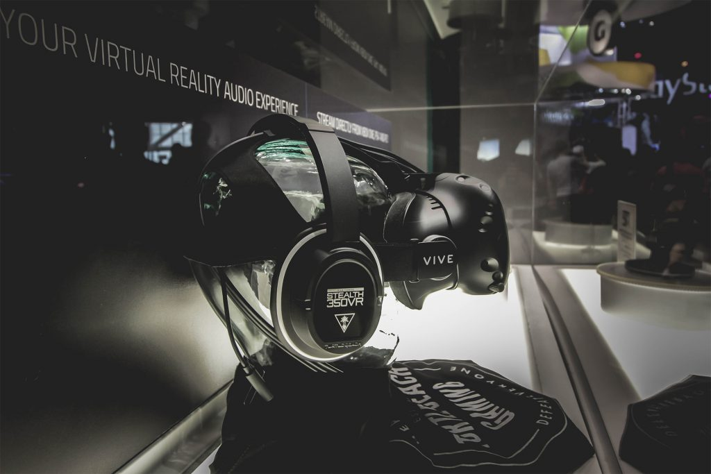 Turtle Beach Stealth 350VR Headset with the HTC Vive on display at E3 2016.