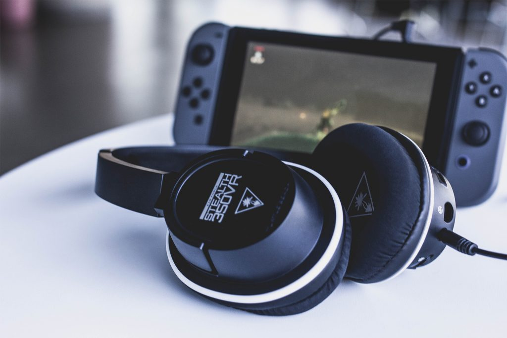 The Turtle Beach Stealth 350VR headset plugged into the Nintendo Switch.