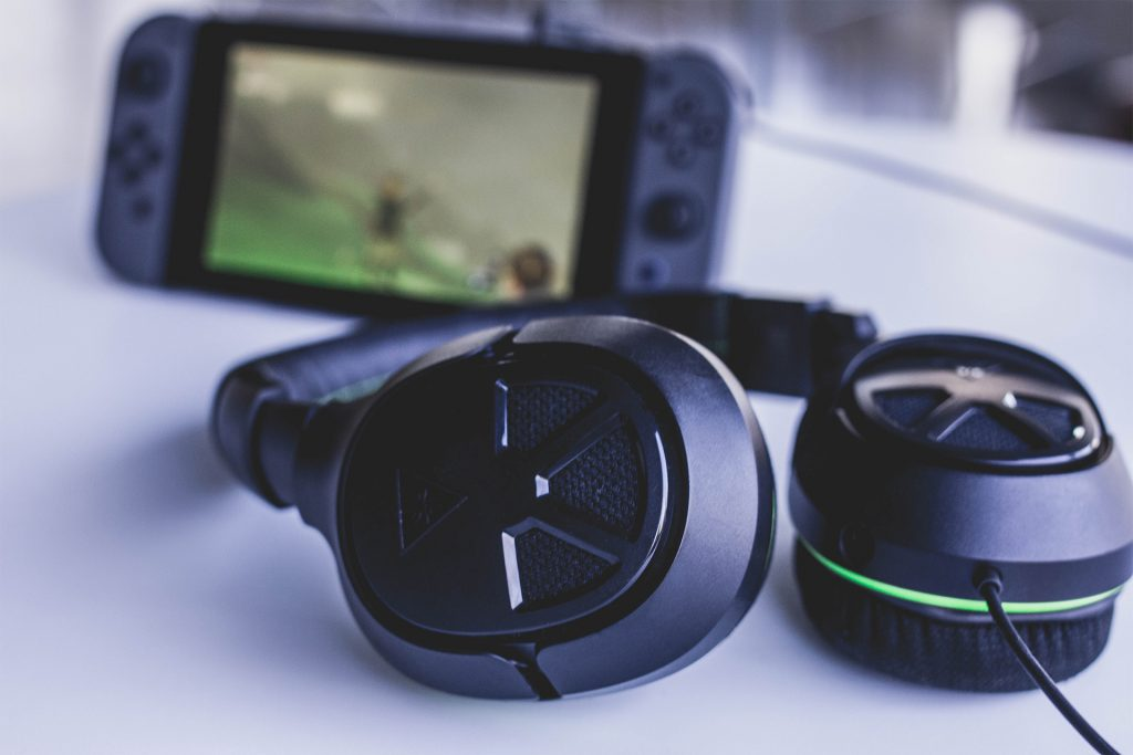 The Turtle Beach XO FOUR Stealth headset plugged into the Nintendo Switch.