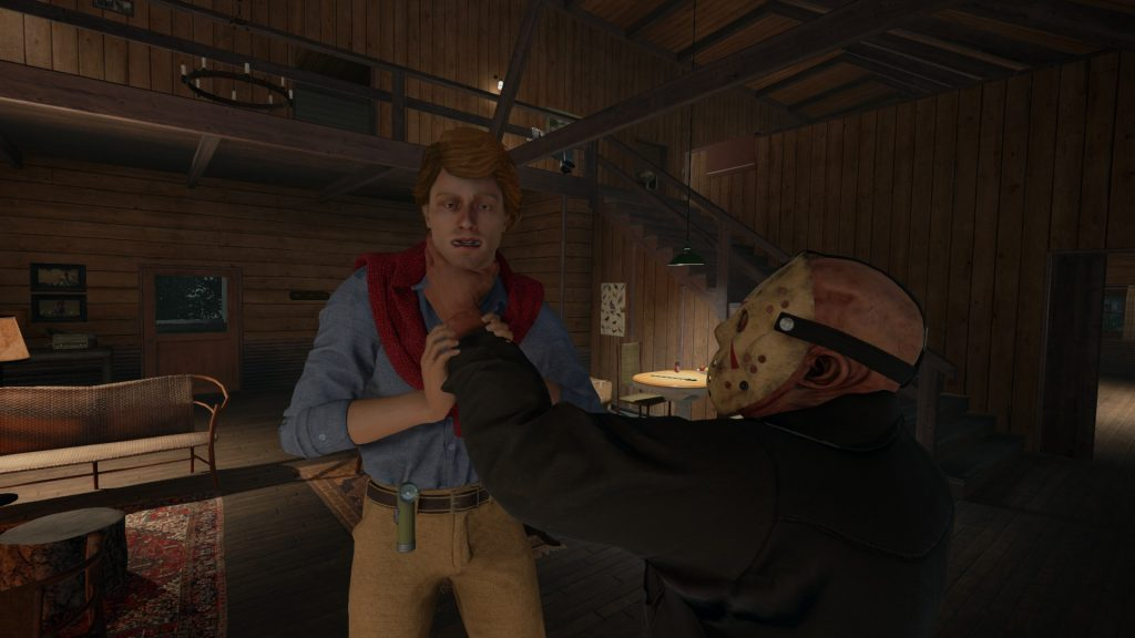 If Jason gets too close, he will grab you. Put tables and objects between you and him to stay alive.