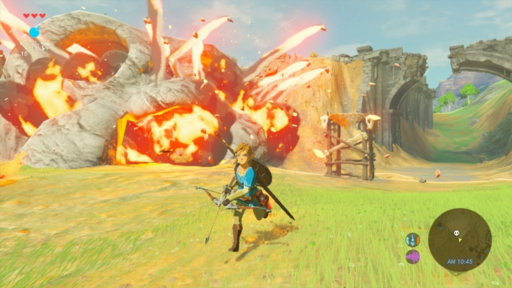 The purple circle represents how noisy Link is being in The Legend of Zelda: Breath of the Wild