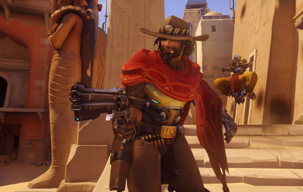 McCree from Overwatch demonstrates his best headshot.