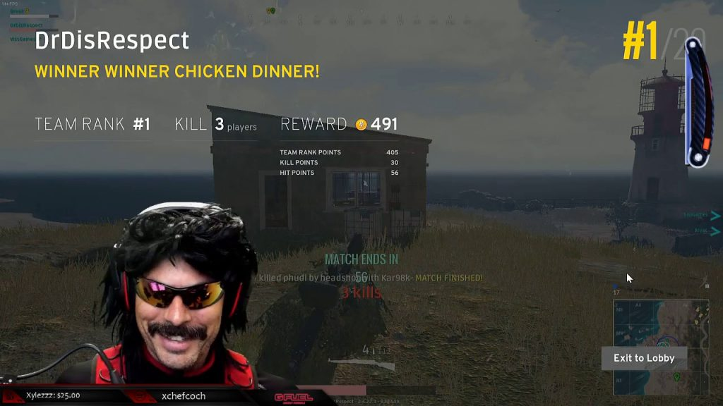 DrDisRespect gets a win in PlayerUnknown's Battlegrounds while wearing a Turtle Beach Stealth 450 gaming headset.