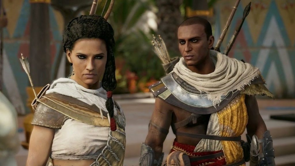 Aya and Bayek in Assassin's Creed Origins