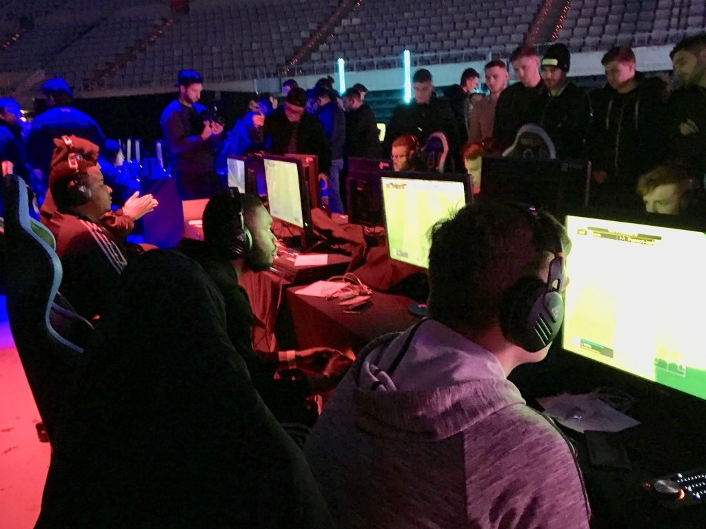 Gamers compete at the FUT Champions Cup in Barcelona using Turtle Beach Elite Pro gaming headsets.