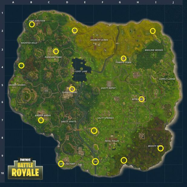 Ice cream truck locations in Fortnite Battle Royale.
