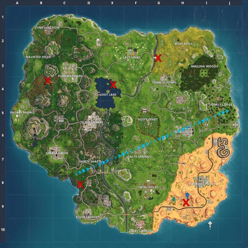 Fortnite Season 5 Challenges map