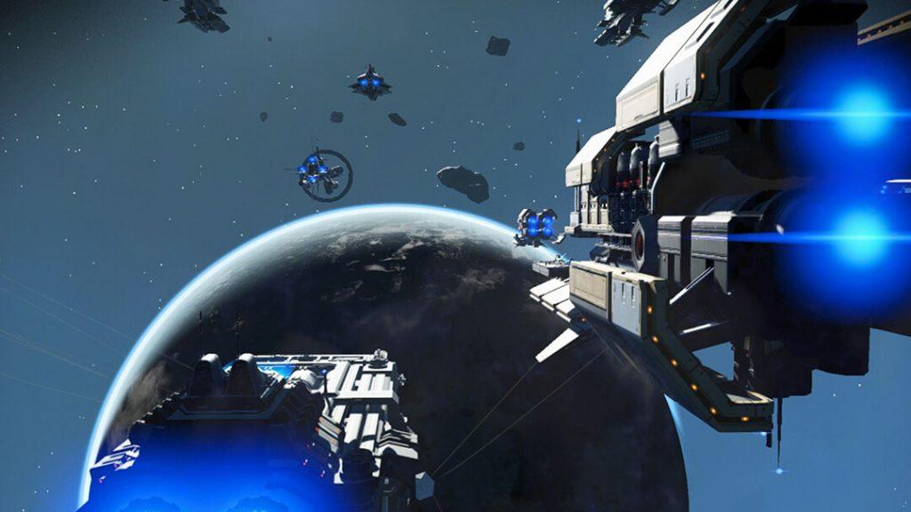 No Man's Sky NEXT frigate battle.