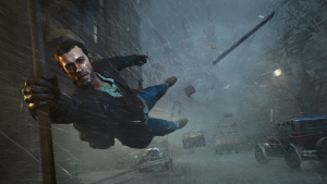 Detective from sinking city being pulled into an unnatural storm while holding onto a pole with one hand