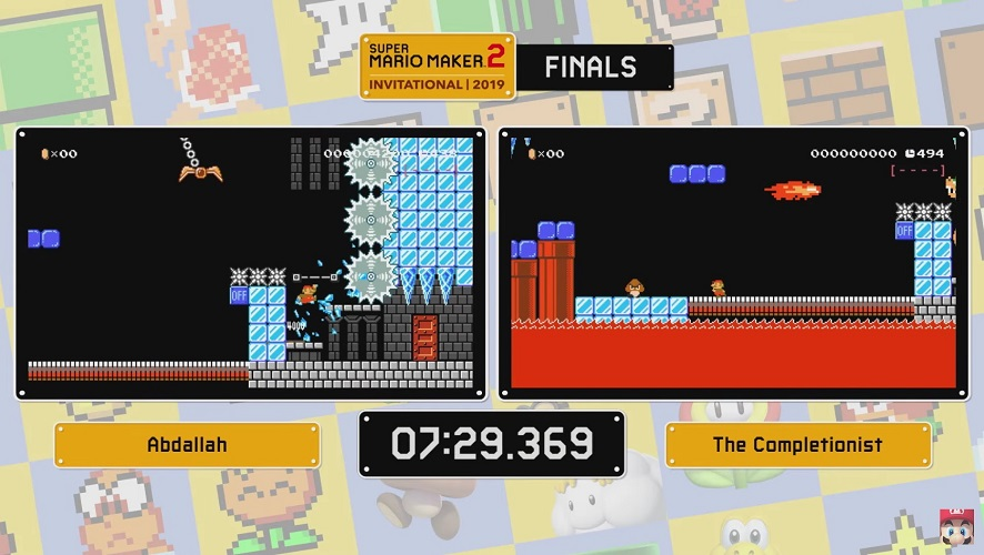 Final round of the Super Mario Maker 2 Invitational solo competition between Abdallah and the Completionist