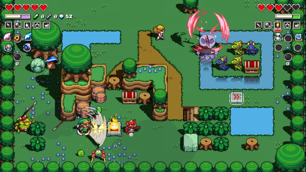 Cadence of Hyrule gameplay: Link and Zelda attack enemies in a forest map.