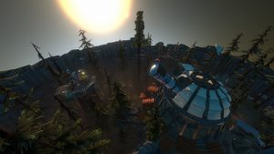 Horizon shot of forest and telescope installation from Outer Wilds