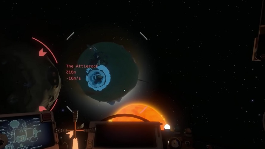 Outer Wilds Space scene. Sun, Moon and Planet named The Attlerock in range