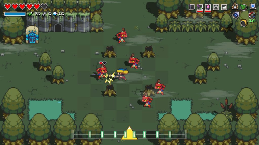 Cadence of Hyrule gameplay: Cadence battles a group of enemies on a foggy map.