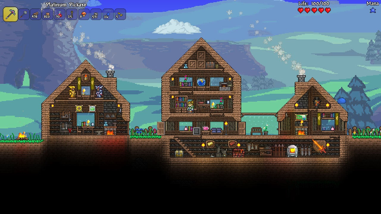 Terraria lets you build huge bases, recruit NPCs, and play with friends!