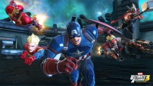 Captain America, Miss Marvel, Iron Man, Starlord and Thor spring into action