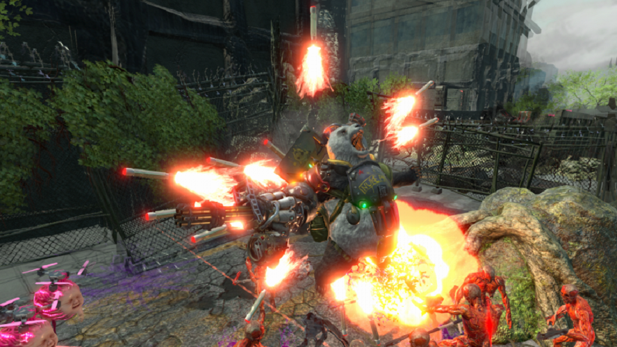 Panda heavily armed firing out a number of explosive missiles in every direction around a number of enemies