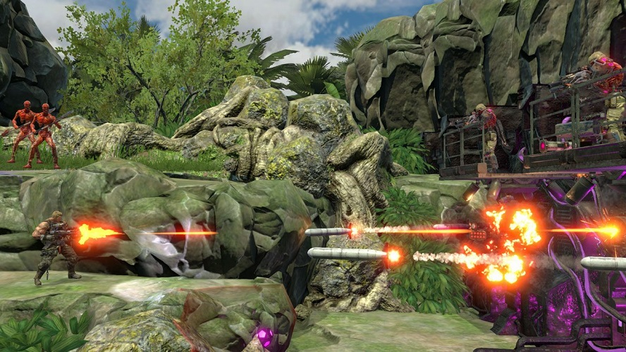 Contra firing down incoming missiles as enemies watch from above and forward.