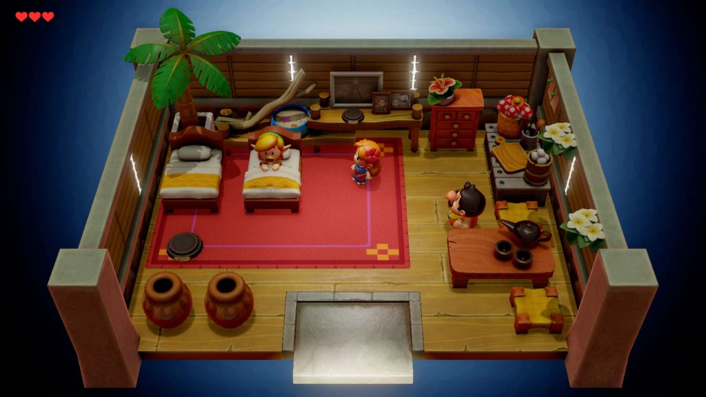 Links Awakening remake room with hero and other characters