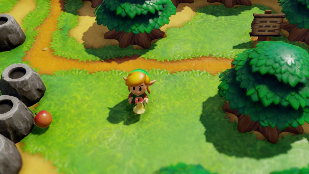 Link holding an apple core waling in the open world segments of the world