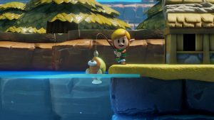 Link holding up a caught fish he has fished up with a proud smile on a dock above water