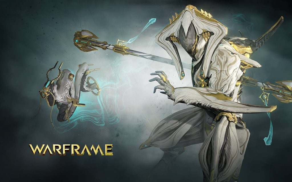 Warframe Loki Prime in white and gold metallic accents with a dragon like sentinel accompanying him