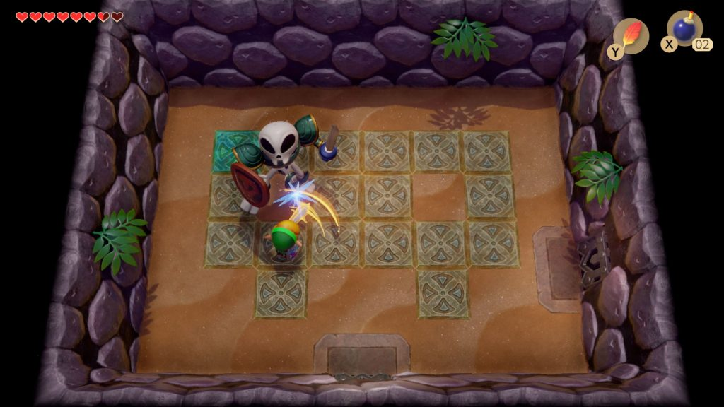 Link in battle with a skeleton in armor with sword and shield in a locked room/tile