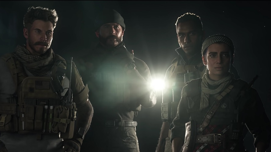 Familar Captain Price stands with 3 members of his new squad with a light behind them