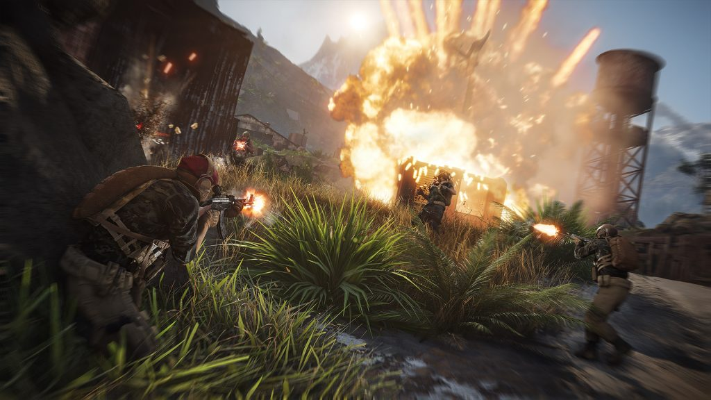 Two military figures are firing in the foreground at others in the background as an explosion goes off behind them and bullets hit nearby to the left of them in a daylight firefight.
