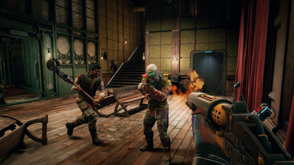 The player shoots fire at an enemy, and is assisted by a companion