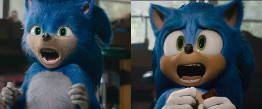 Sonic's initial design side-by-side with the redesign.