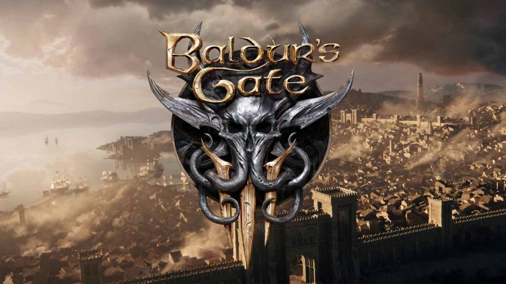 Large port cityscape, with a large Baldur's Gate III Logo taking up the center fore