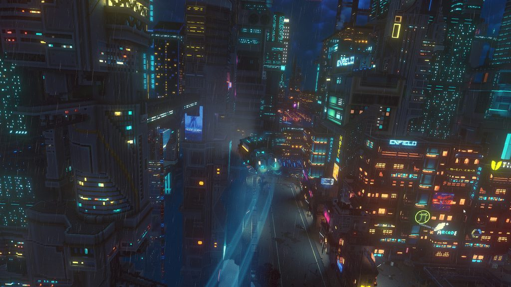 A futuristic night city scene. Towering buildings along an avenue with a single flying car zooming along the center leaving a light trail behind it and the entire scene lit up in various neons.