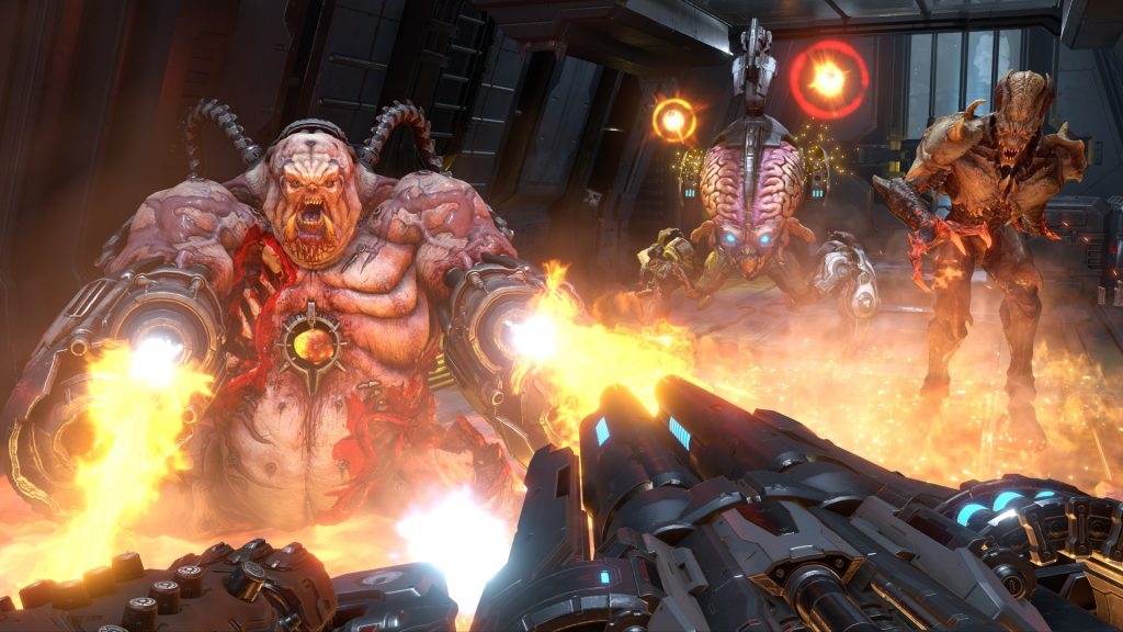 A fat demon firing upon the viewer, weilding a gun, while a pair of demons in the background ready to attack.