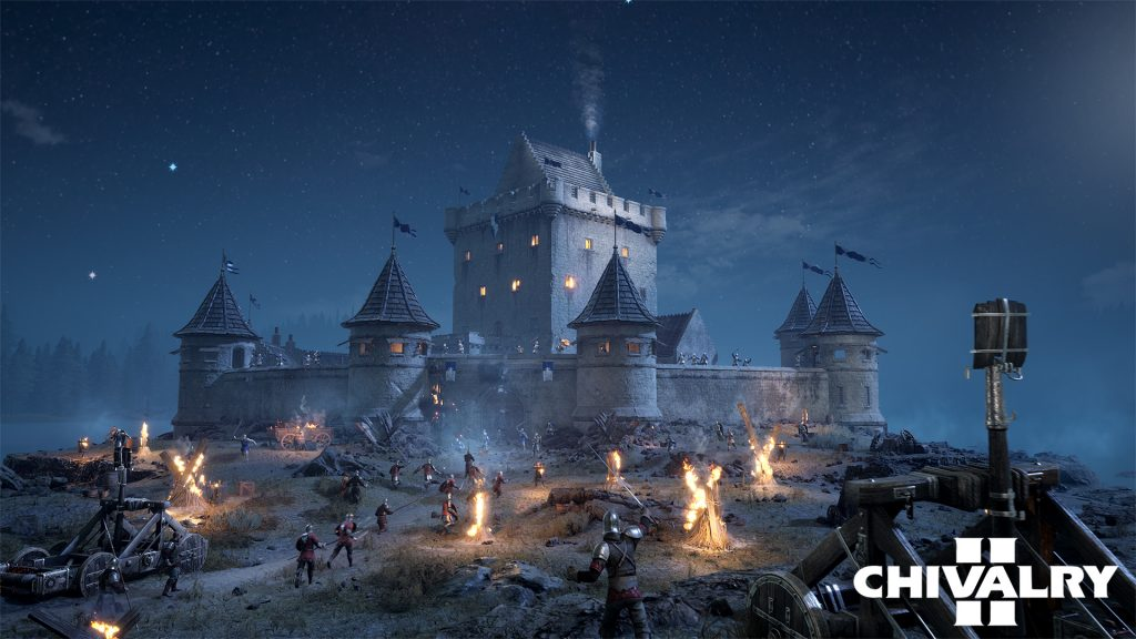 A castle at night under siege, multiple fires in the foreground highlighting figures rushing towards the castle and manning trebuchets firing on the castle.