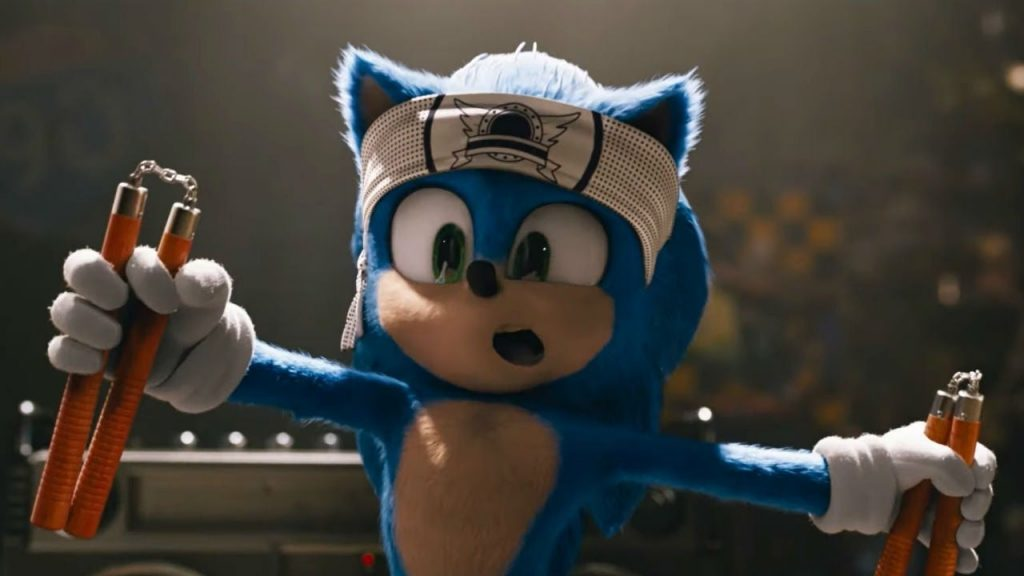 Sonic the Hedgehog sporting a bandanna and nunchaku