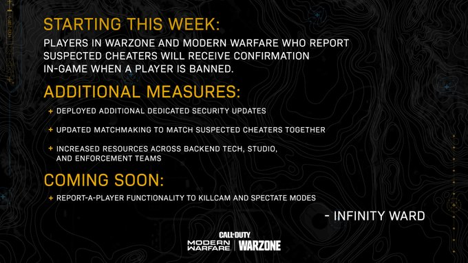 Call of Duty: Warzone update including anti-cheater and anti-hacker measures