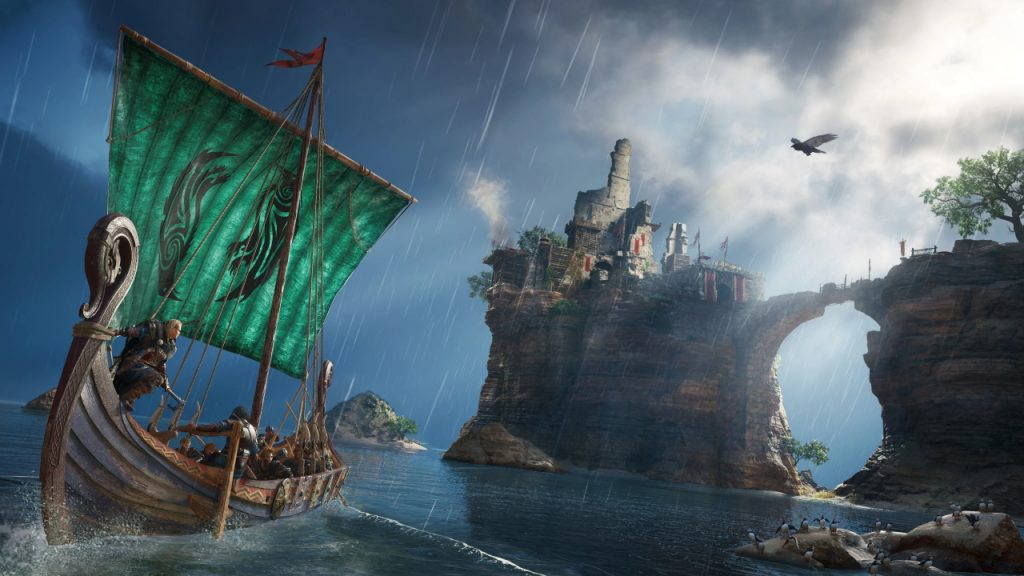 A viking longboat, with a green sail and a stylized clan image on it, sails along a rainy shore in the foreground. Behind them on high cliffs is a ruined castle with red banners.