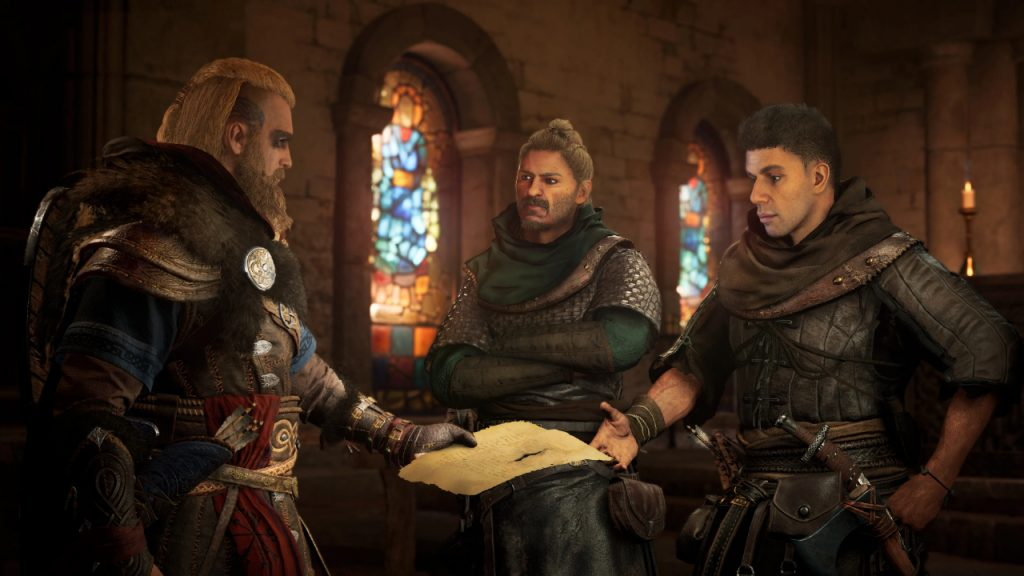 Three men in medieval layered armor discuss a piece of paper held between them, inside a church background.