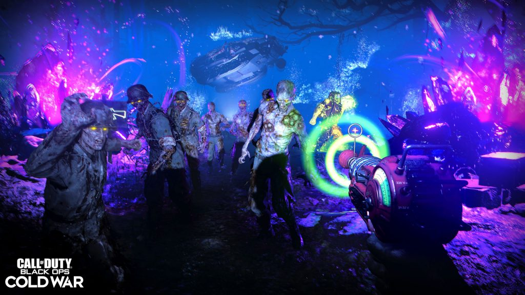 Wielding a Ray Gun against Zombies in a... day-glo aquarium??