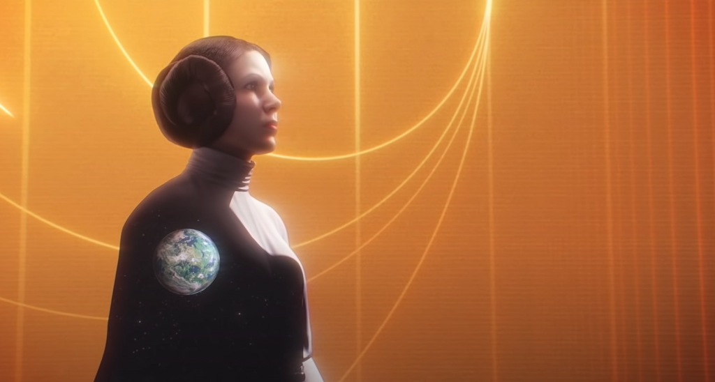 Princess Leia stands amidst an orange background, filled with space showing the doomed planet of Alderaan in her shadow covering the orange.