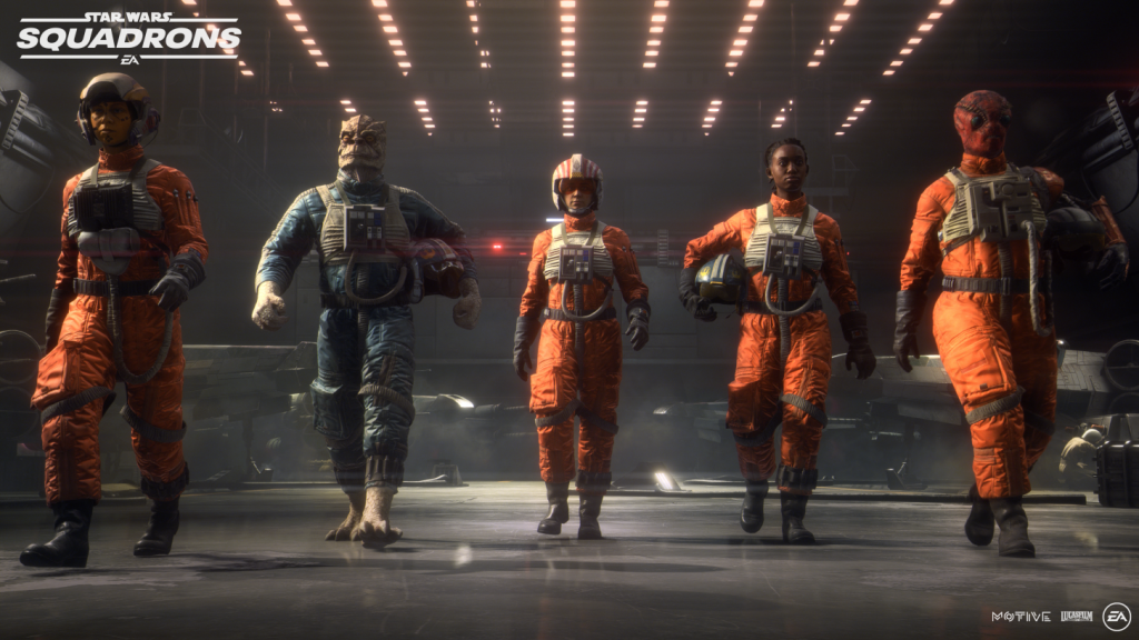 5 rebel fighters walk forwards in a brightly lit cargo bay, two wearing their helmets and the others carrying them.