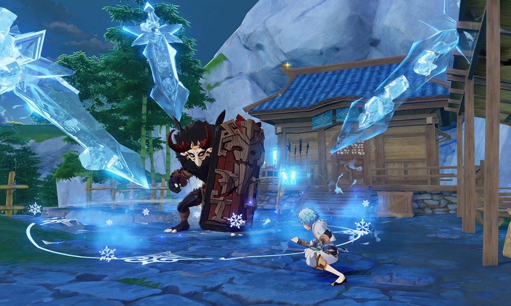 Chongyun uses his Cryo Elemental Skill against a tough shield-bearing mitachurl.