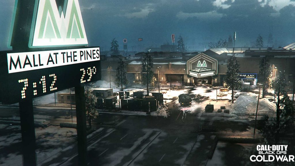 Snowy parking lot of the mall in the new The Pines map.