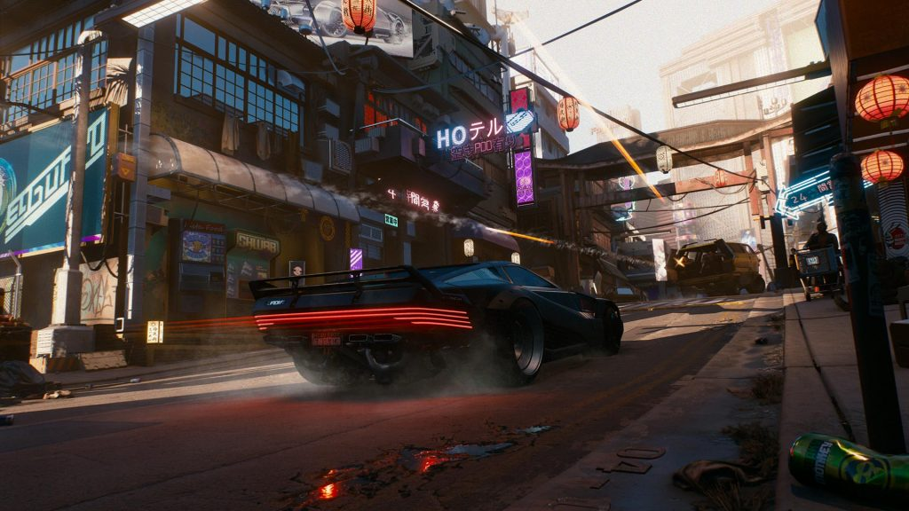V's Quadra Type-R V-Tech speeds down a Night City street.