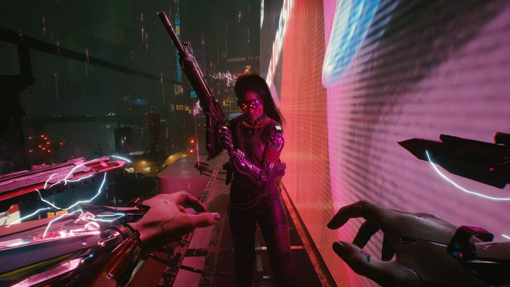 V with Mantis Blades out faces down a heavily chipped enemy on a neon billboard ledge.