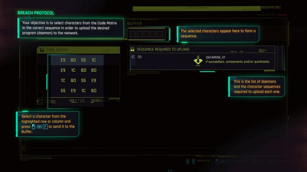 Breach Protocol hacking screen, with tooltips.
