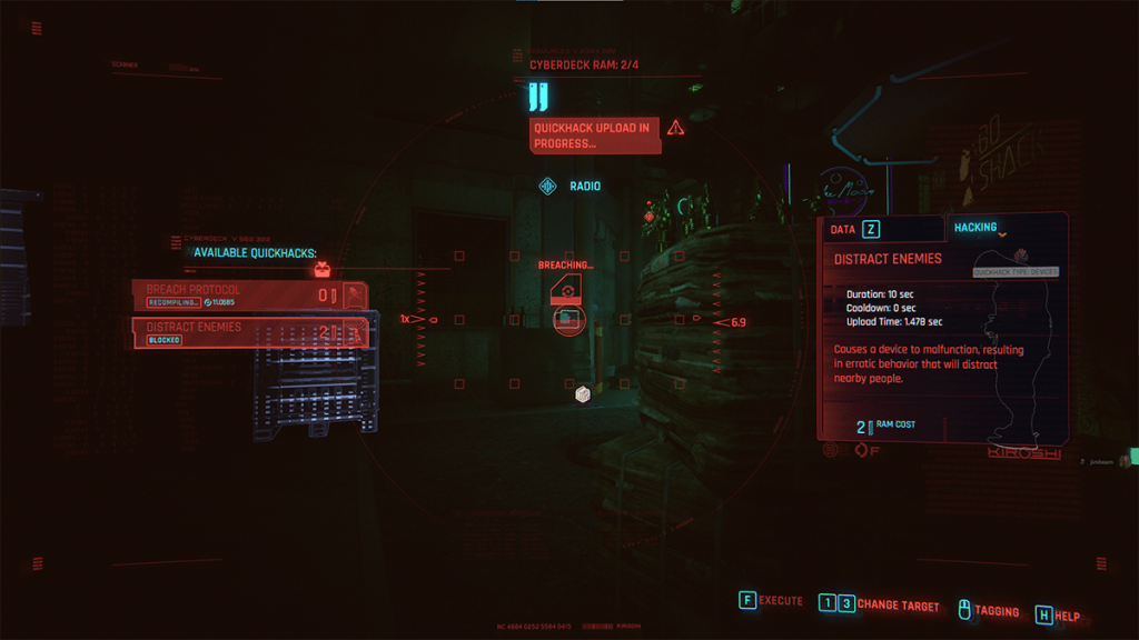 Quickhacking a radio with 'Distract Enemies.'