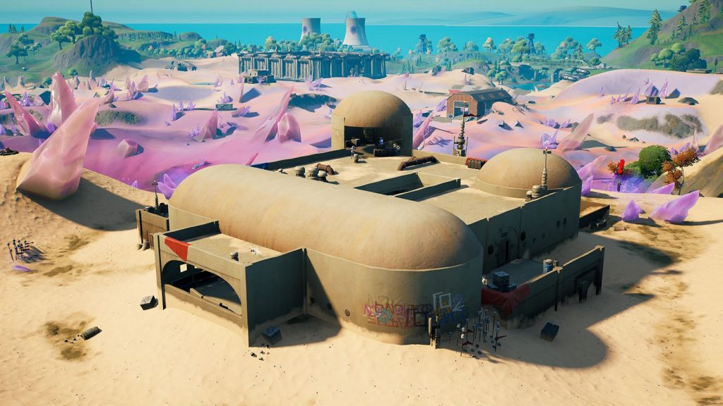 Kit's Cantina from above, with the rest of the Fortnite map behind it.