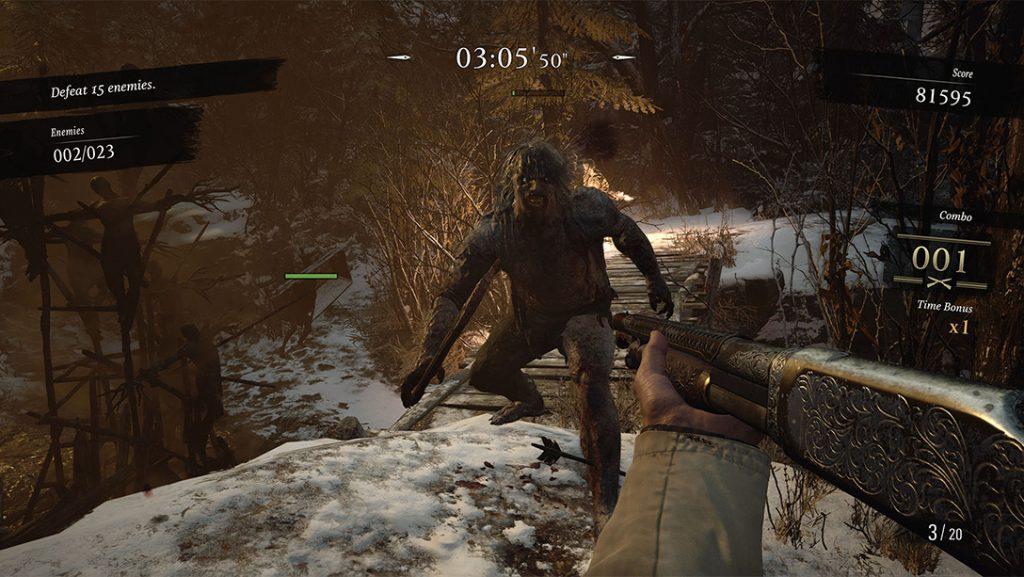 Mercenaries mode HUD and werewolf enemy.